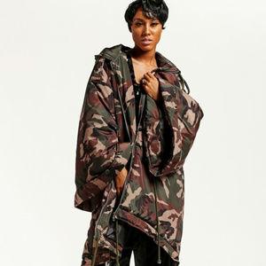 Oversized Camouflage Hooded Coat